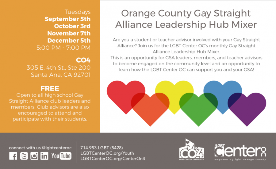 Orange County Gay Straight Alliance Leadership Hub Mixer @ LGBT Center on 4th | Santa Ana | California | United States