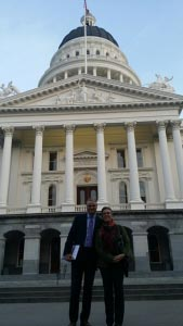 Kevin O'Grady and Youth and Advocacy Laura Kanter in Sacramento working to secure LGBTQQ equality.