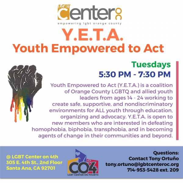 Youth Empowered To Act (Y.E.T.A.) @ LGBT Center on 4th (2nd Floor) | Santa Ana | California | United States