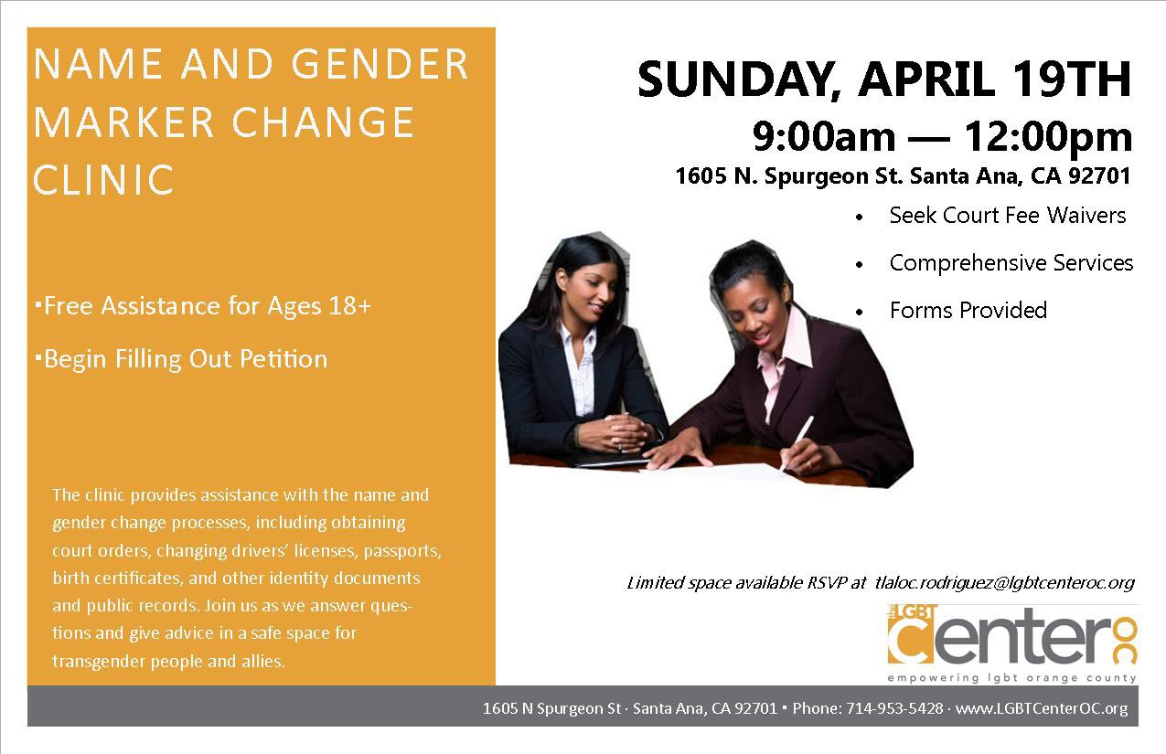 Name And Gender Marker Change Clinic Lgbt Center Oc