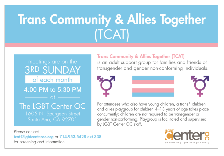 Trans Community and Allies Together (TCAT) @ LGBT Center Orange County | Santa Ana | California | United States