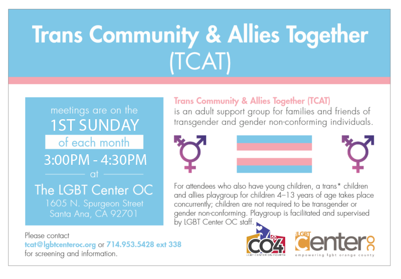 Trans Community and Allies Together (TCAT) @ LGBT Center Orange County Center on 4th | Santa Ana | California | United States