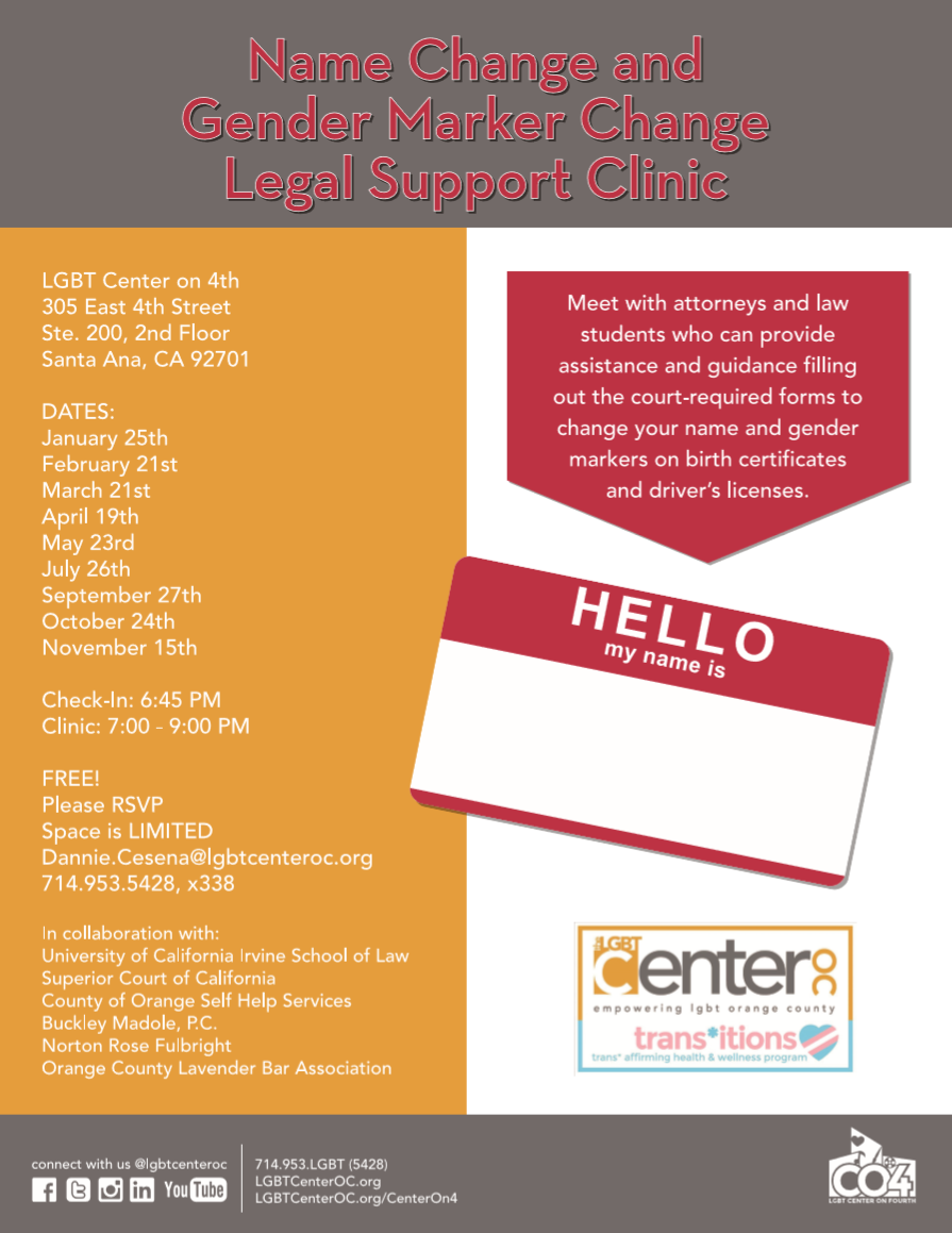 Name and gender change clinics 2018 lgbt center oc view larger image aiddatafo Images
