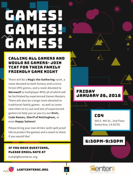 Family Game Night @ LGBT Center on 4th | Santa Ana | California | United States