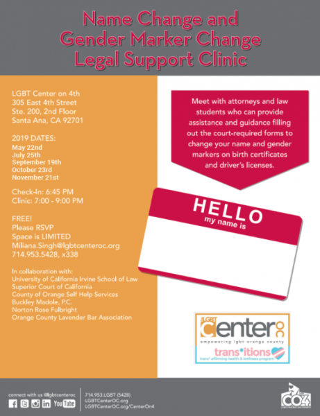 Name and Gender Change Clinic @ LGBT Center on 4th | Santa Ana | California | United States